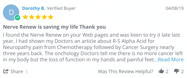 "Dorothy B. review says ""Nerve Renew is saving my life, thank you!"""