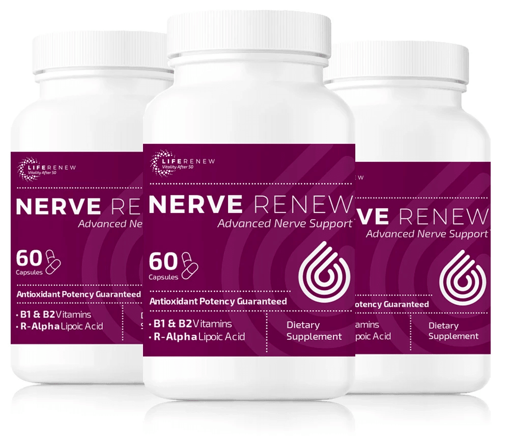 3 bottles of Nerve Renew neuropathy support formula 60 capsules each