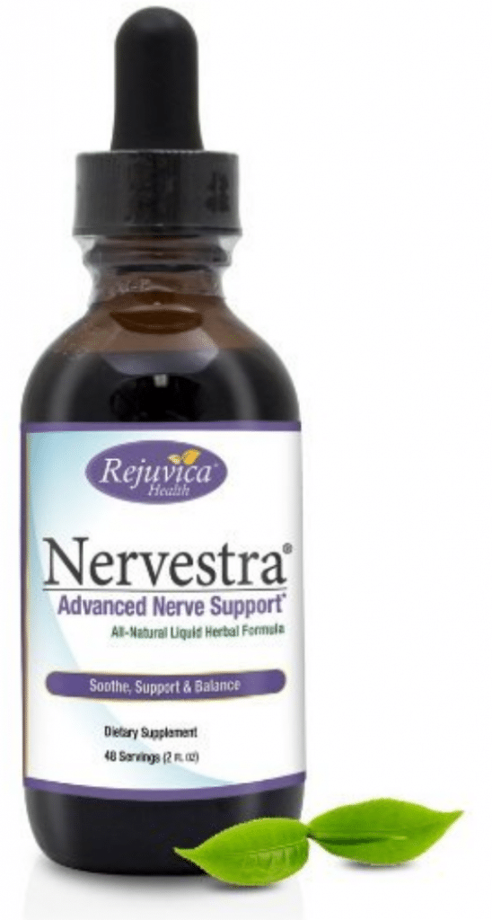 A single bottle of the supplement Nervestra.